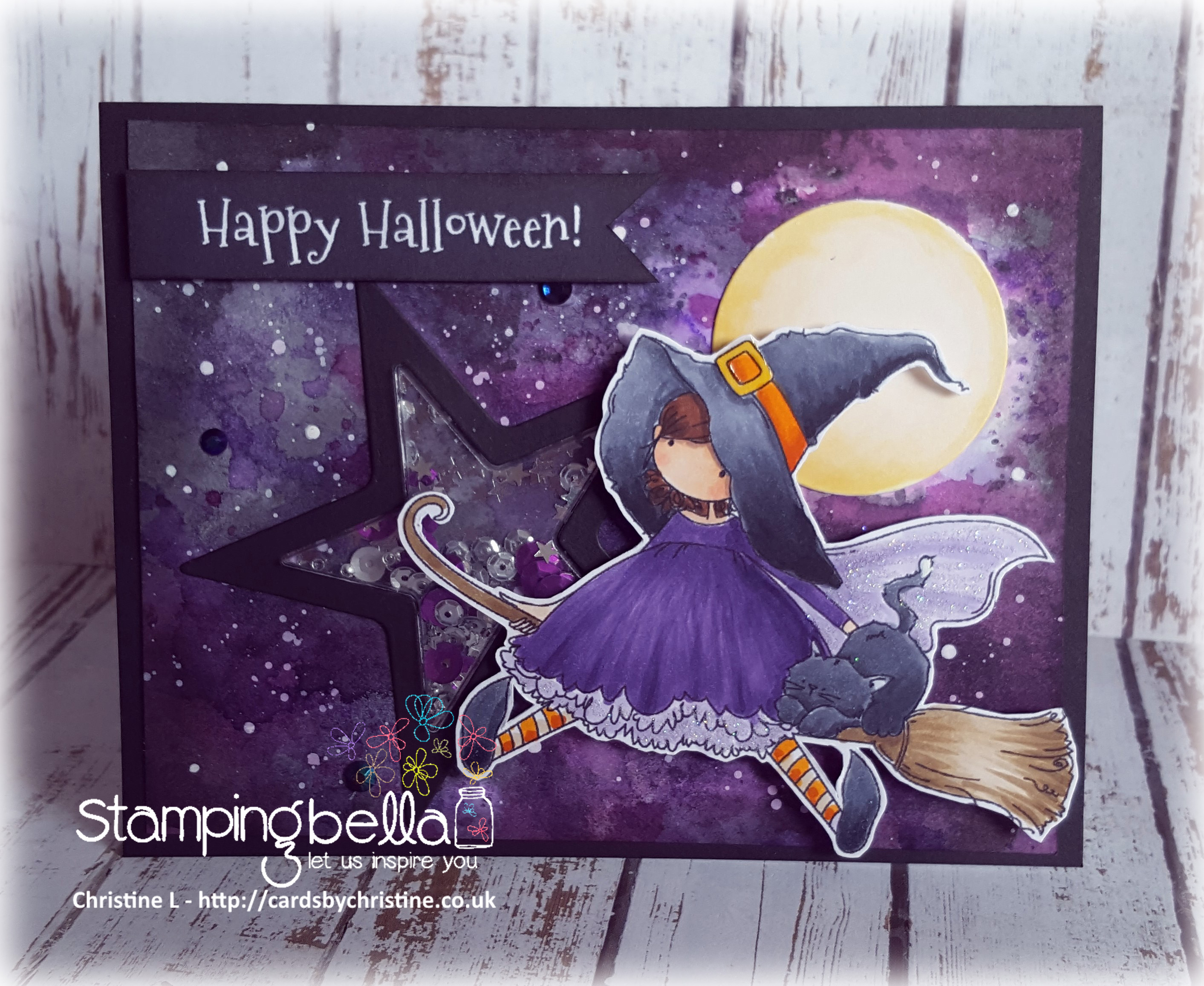 Stamping Bella SNEAK PEEK DAY 1- STAMPS USED: Tiny Townie HATTIE loves HALLOWEEN card by CHRISTINE LEVISON