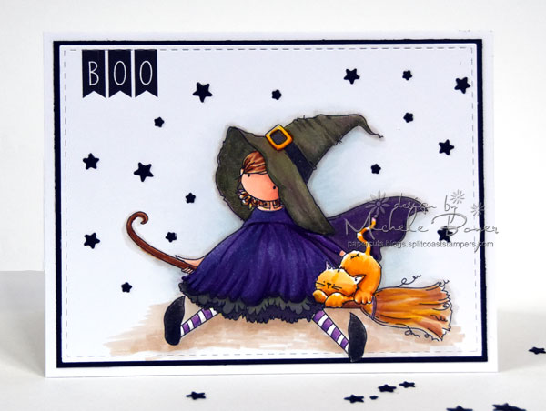 Stamping Bella SNEAK PEEK DAY 1- STAMPS USED: Tiny Townie HATTIE loves HALLOWEEN card by Michele Boyer