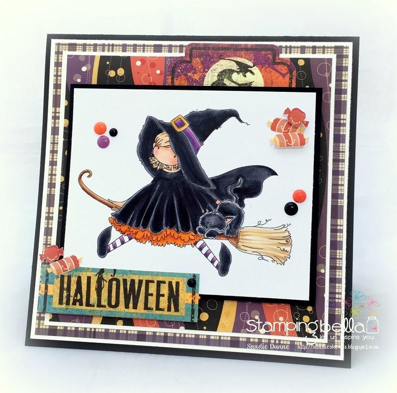 Stamping Bella SNEAK PEEK DAY 1- STAMPS USED: Tiny Townie HATTIE loves HALLOWEEN card by Sandie Dunne