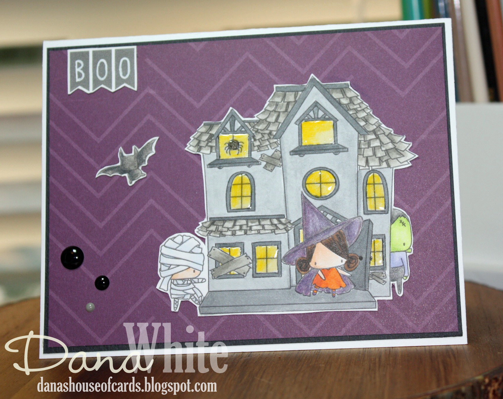 STAMPING BELLA SNEAK PEEK DAY 3- LITTLES HAUNTED HOUSE FULL SCENE RUBBER STAMP card by DANA WHITE