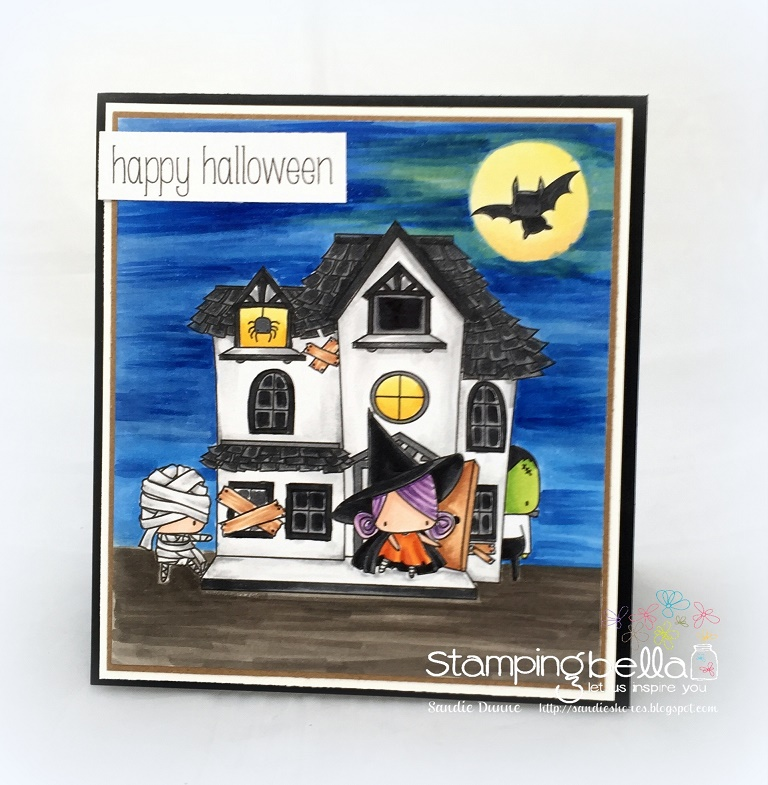 STAMPING BELLA SNEAK PEEK DAY 3- LITTLES HAUNTED HOUSE FULL SCENE RUBBER STAMP card by SANDIE DUNNE