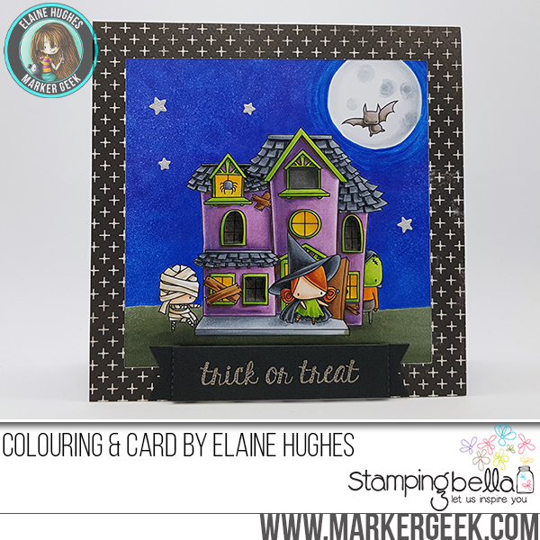 STAMPING BELLA SNEAK PEEK DAY 3- LITTLES HAUNTED HOUSE FULL SCENE RUBBER STAMP card by ELAINE HUGHES
