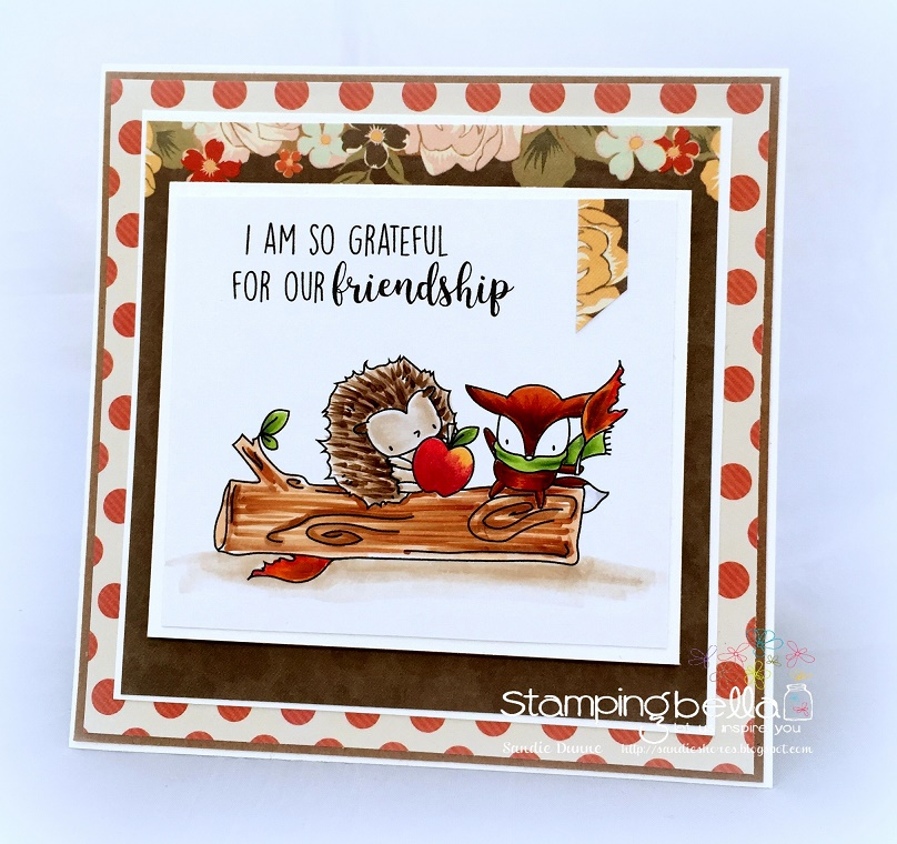 Stamping Bella SNEAK PEEK DAY 2 : THE LITTLES HEDGIE and FOXY RUBBER STAMP card by Sandie Dunne