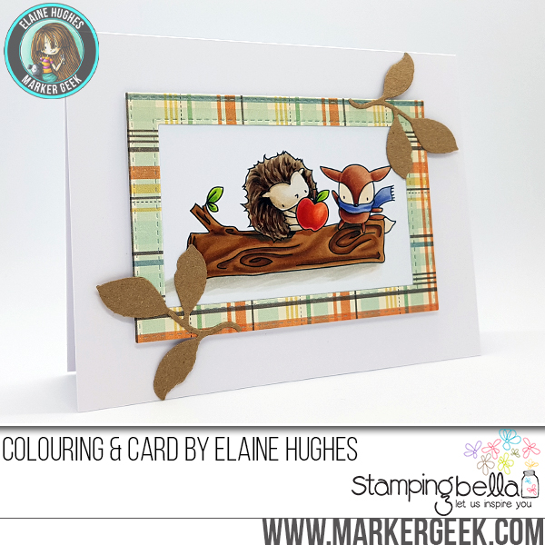 Stamping Bella SNEAK PEEK DAY 2 : THE LITTLES HEDGIE and FOXY RUBBER STAMP card by Elaine Hughes