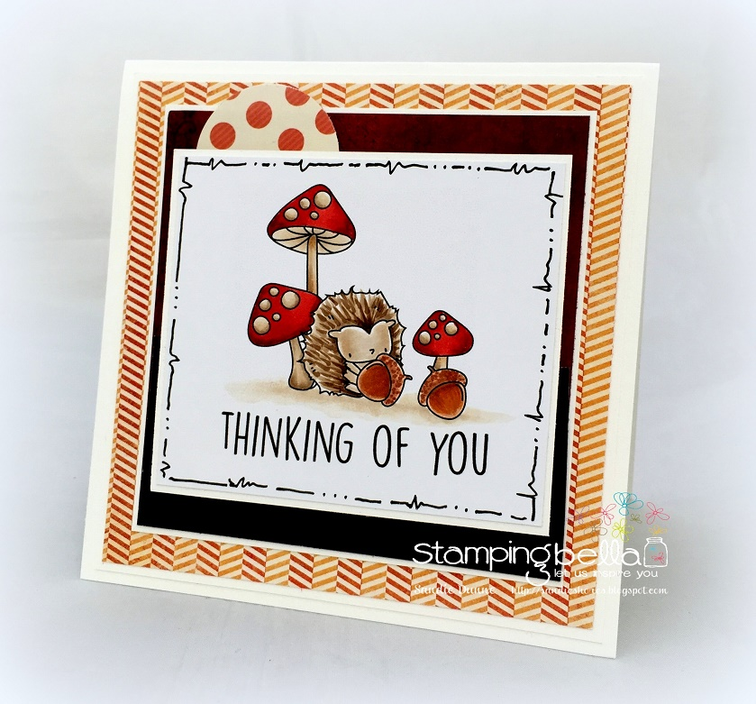 Stamping Bella SNEAK PEEK DAY 2 : THE LITTLES HEDGIE and his ACORNS card by Sandie DUNNE