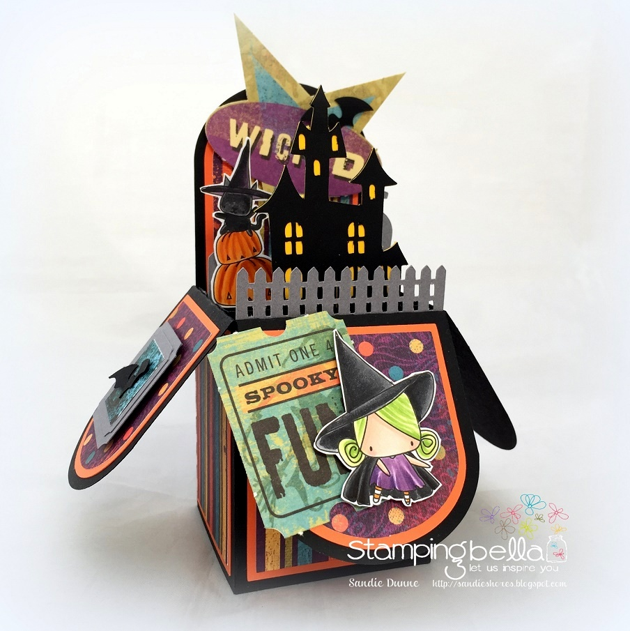 STAMPING BELLA SNEAK PEEK DAY 3- LITTLE BITS LITTLE WITCHIES TREAT BOX by SANDIE DUNNE