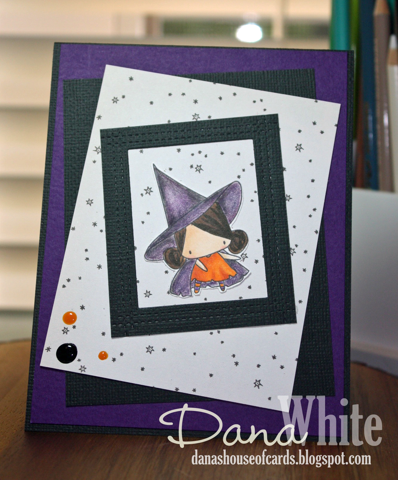 STAMPING BELLA SNEAK PEEK DAY 3- LITTLE BITS LITTLE WITCHIES RUBBER STAMP card by DANA WHITE