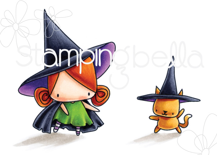STAMPING BELLA SNEAK PEEK DAY 3- LITTLE BITS LITTLE WITCHIES RUBBER STAMP