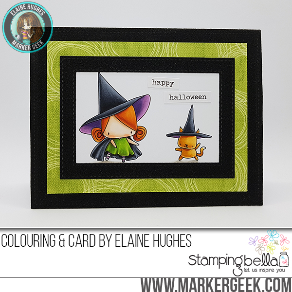 STAMPING BELLA SNEAK PEEK DAY 3- LITTLE BITS LITTLE WITCHIES RUBBER STAMP card by ELAINE HUGHES