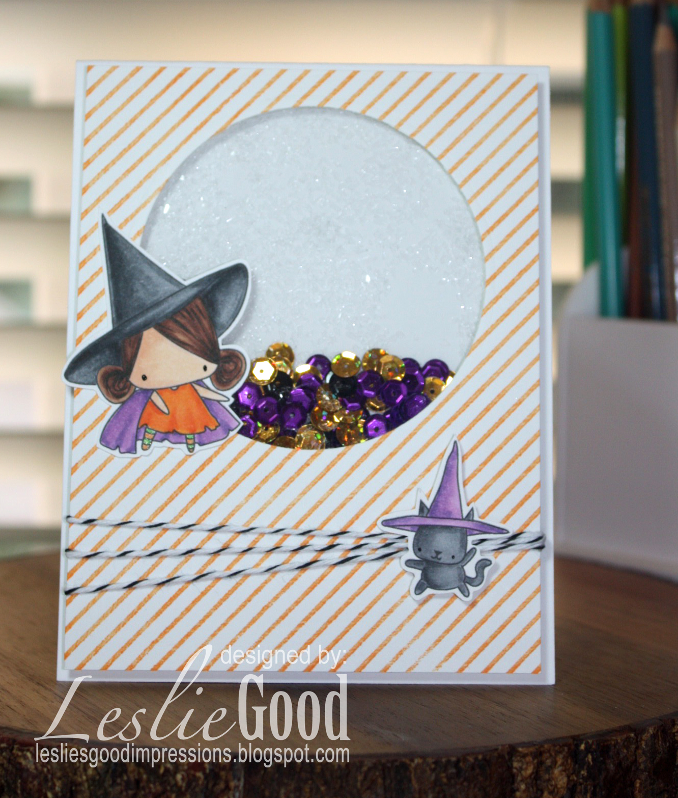 STAMPING BELLA SNEAK PEEK DAY 3- LITTLE BITS LITTLE WITCHIES RUBBER STAMP card by Leslie Good