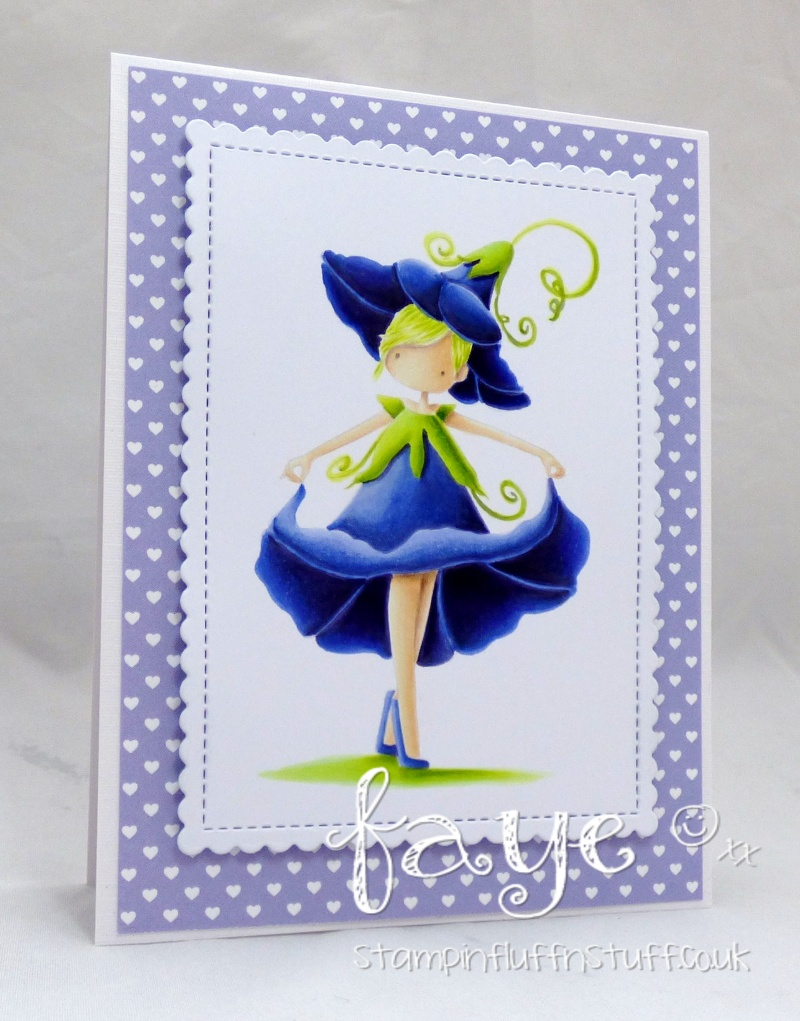 Stamping Bella FALL/HALLOWEEN 2017 release- TINY TOWNIE GARDEN GIRL MORNING GLORY rubber stamp, card by Faye Wynn Jones