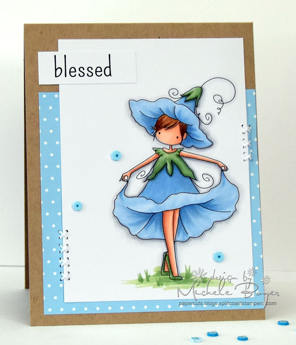 Stamping Bella FALL/HALLOWEEN 2017 release- TINY TOWNIE GARDEN GIRL MORNING GLORY rubber stamp card by Michele Boyer