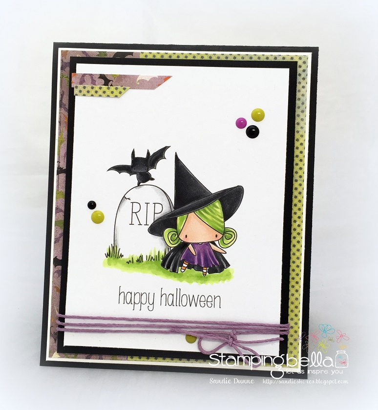 STAMPING BELLA SNEAK PEEK DAY 3- LITTLE BITS HAUNTED HOUSE OUTDOOR DECOR and LITTLE WITCHY RUBBER STAMPS CARD BY SANDIE DUNNE