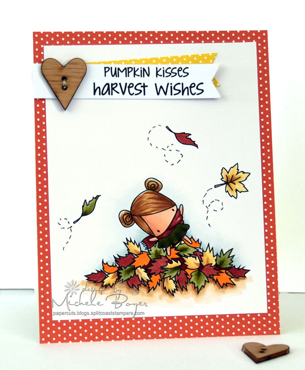 Stamping Bella SNEAK PEEK DAY 2 : THE LITTLES PLAYING IN THE LEAVES card by MICHELE BOYER