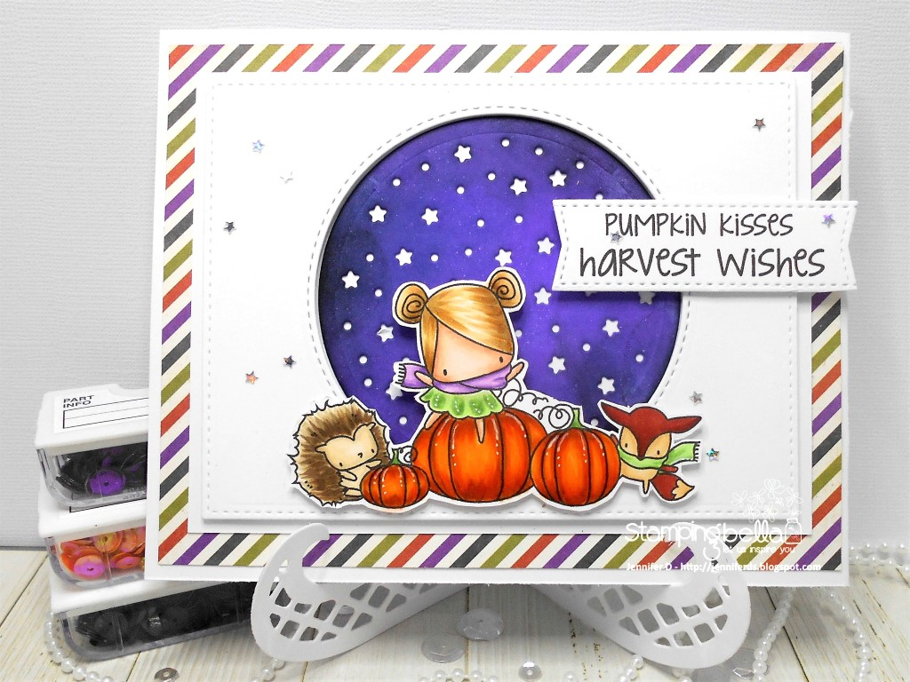 Stamping Bella SNEAK PEEK day 4- THE LITTLES PUMPKIN FRIENDS RUBBER STAMP card by Jenny DIX