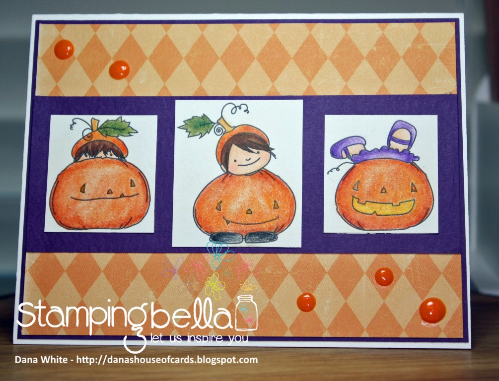Stamping Bella SNEAK PEEK day 4- SQUIDGY PUMPKIN TRIO RUBBER STAMP card by Dana White