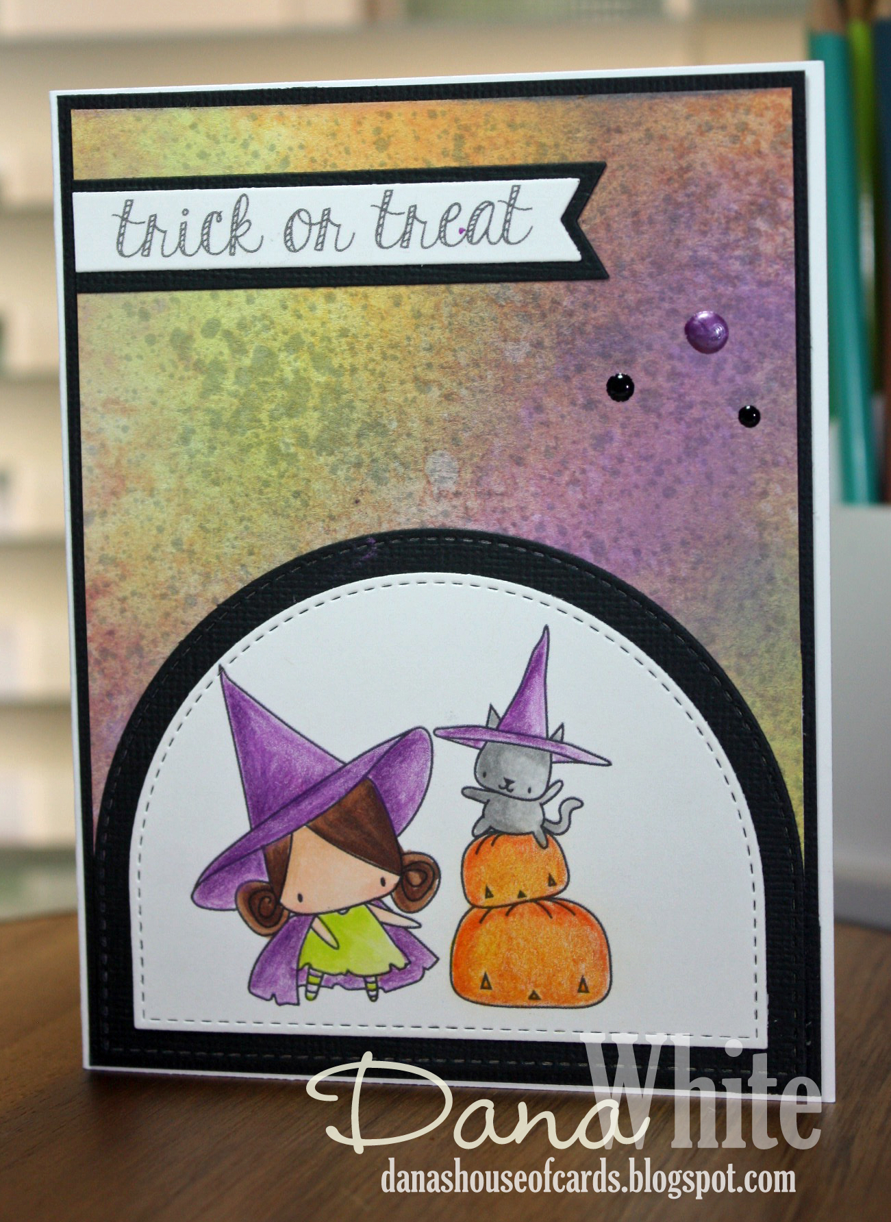 Stamping Bella HALLOWEEN/FALL RELEASE 2017: Pumpkin with a WITCHY on top RUBBER STAMP, card by DANA WHITE