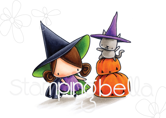 Stamping Bella HALLOWEEN/FALL RELEASE 2017: Pumpkin with a WITCHY on top RUBBER STAMP