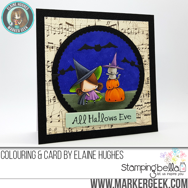 Stamping Bella HALLOWEEN/FALL RELEASE 2017: Pumpkin with a WITCHY on top RUBBER STAMP, card by Elaine Hughes