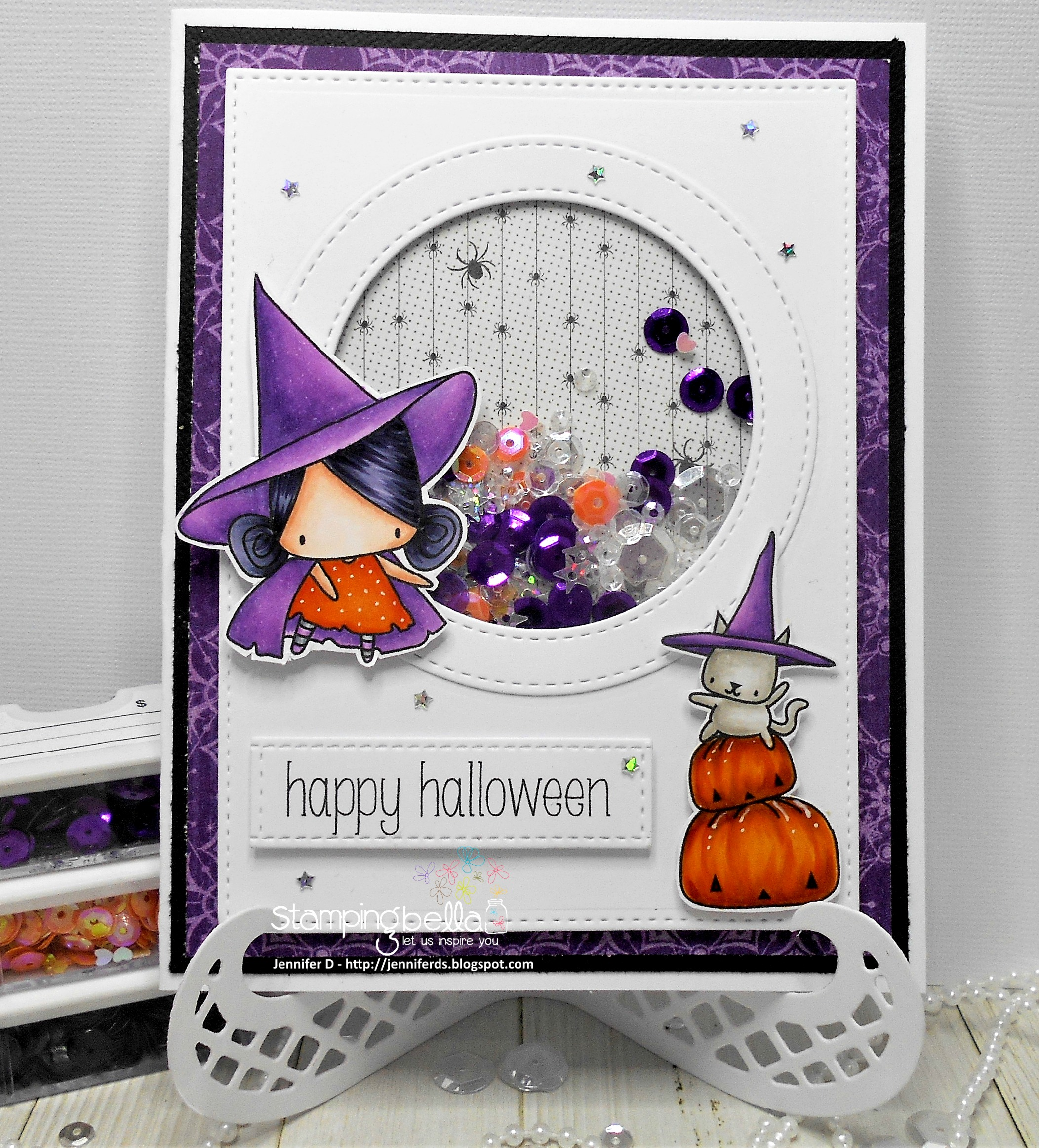 Stamping Bella HALLOWEEN/FALL RELEASE 2017: Pumpkin with a WITCHY on top RUBBER STAMP card by Jenny Dix