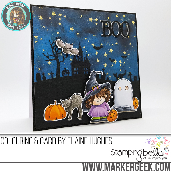 Stamping Bella FALL/HALLOWEEN 2017 release- Squidgy BAT AND CAT SET rubber stamp, card by Elaine Hughes