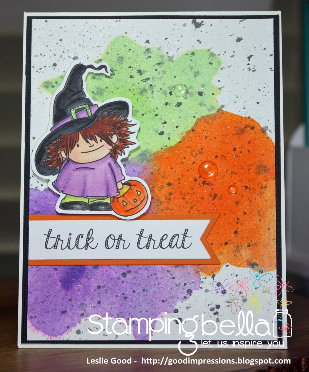 Stamping Bella SNEAK PEEK day 4- SQUIDGY witchy TRICK OR TREATER card by LESLIE GOOD