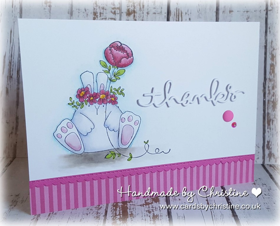 bellarific friday with Stamping Bella AUG 18 2017- rubber stamp used: THE BUNNY WOBBLE and the PEONY, card by Christine LEVISON