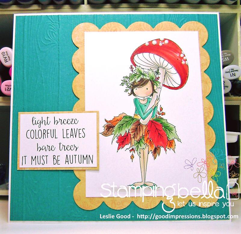 bellarific friday SEPTEMBER 1st 2017 rubber stamp: TINY TOWNIE AUTUMN LOVES AUTUMN. CARD BY Leslie Good