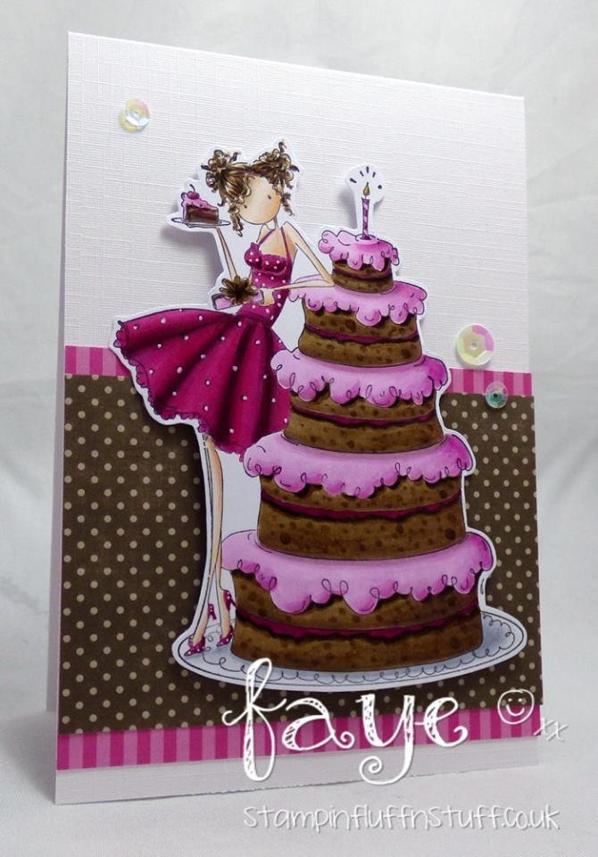 Bellarific Friday challenge with STAMPING BELLA- Rubber stamp used: UPTOWN GIRL BIANCA and her BIG CAKE card made by FAYE WYNN JONES