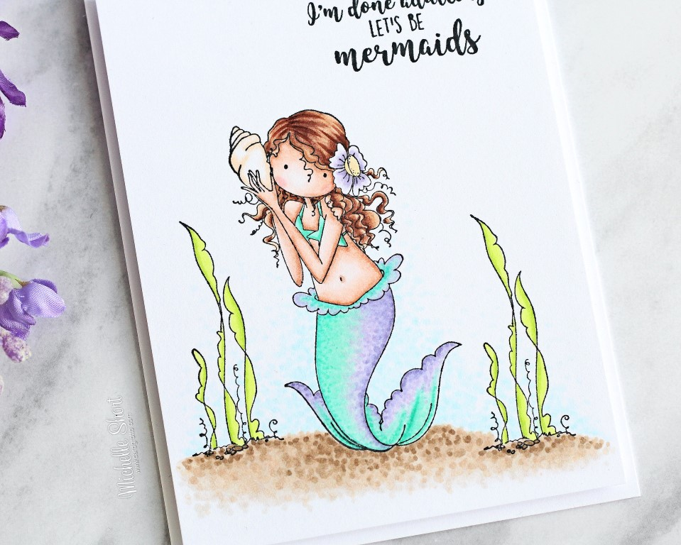 Stamping Bella rubber stamp: MERMAID set, card by MICHELLE SHORT