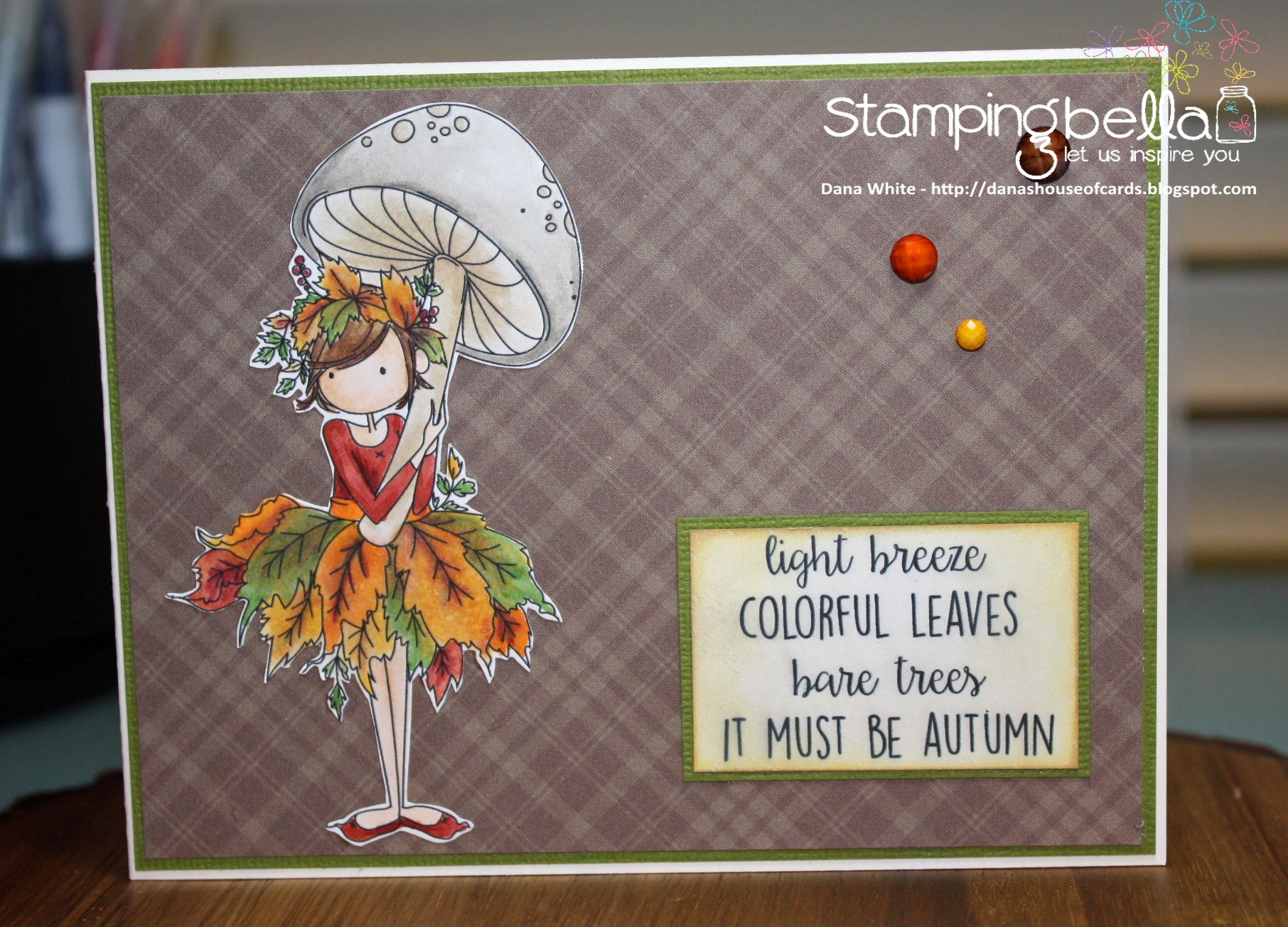 bellarific friday SEPTEMBER 1st 2017 rubber stamp: TINY TOWNIE AUTUMN LOVES AUTUMN. CARD BY Dana White