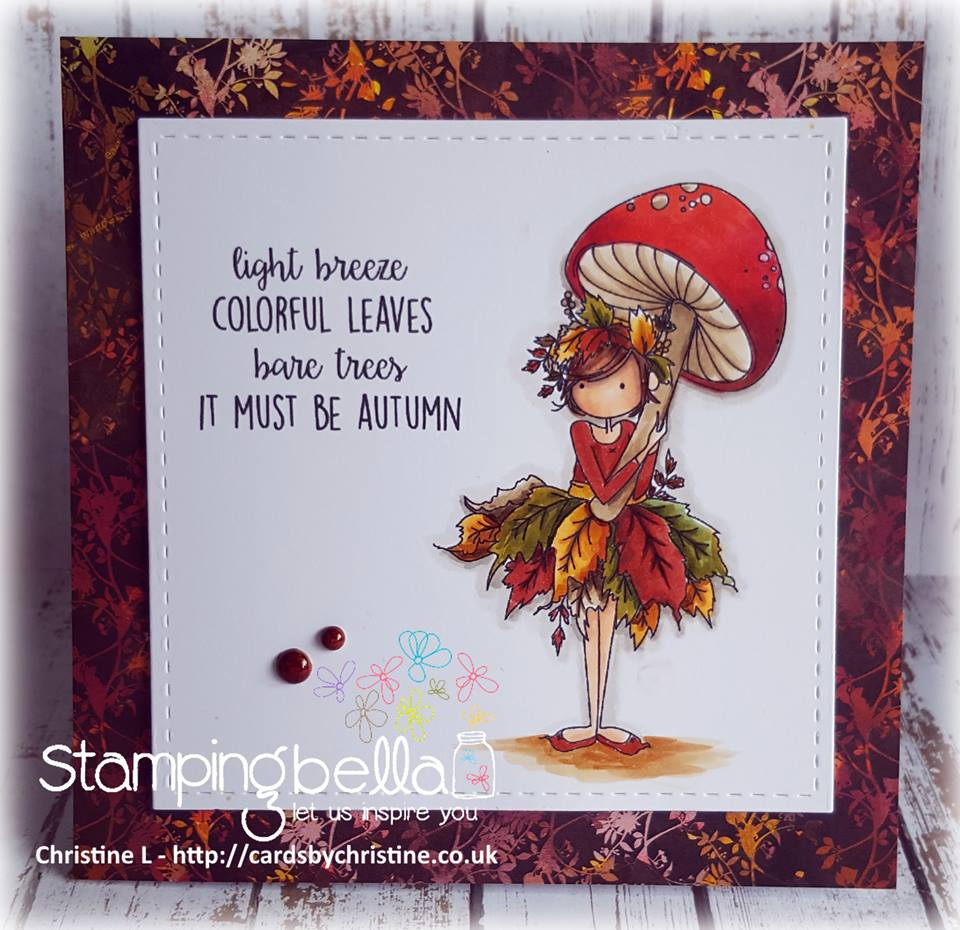 bellarific friday SEPTEMBER 1st 2017 rubber stamp: TINY TOWNIE AUTUMN LOVES AUTUMN. CARD BY  Christine Levison