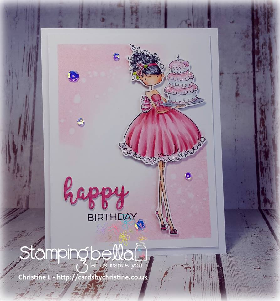 Bellarific Friday with STAMPING BELLA SEPT 15th 2017- RUBBER STAMP USED UPTOWN GIRL AVA loves to CELEBRATE card by CHRISTINE LEVISON