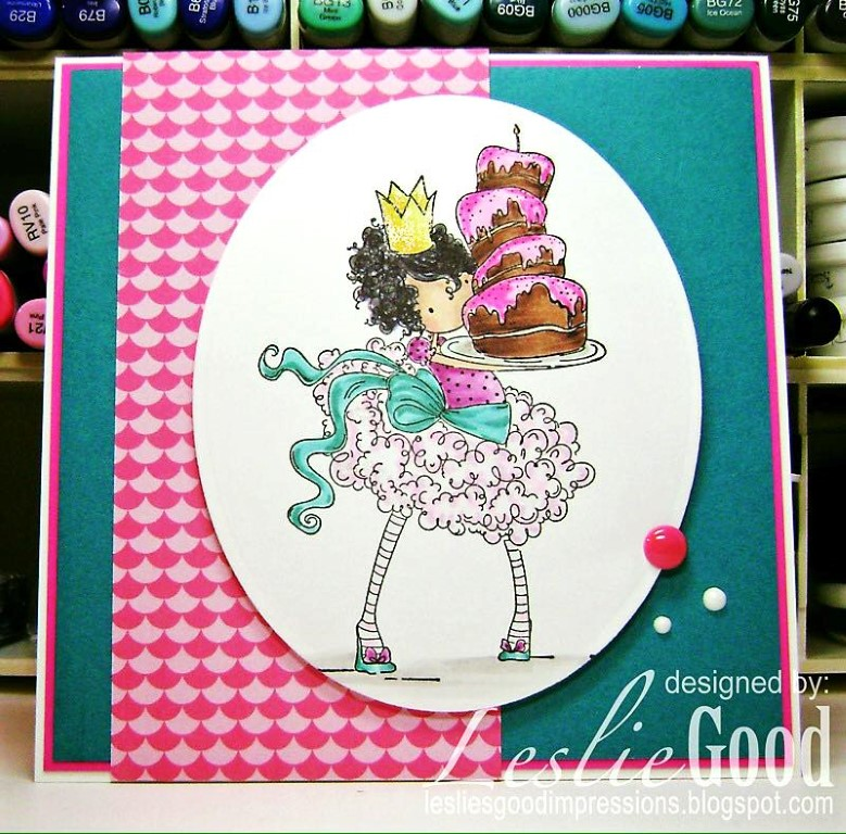 Bellarific Friday challenge with STAMPING BELLA- Rubber stamp used: TINY TOWNIE BREE loves BUTTERCREAM card made by Leslie Good
