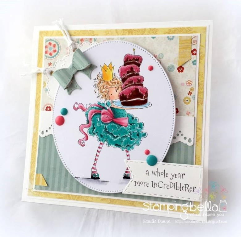 Bellarific Friday challenge with STAMPING BELLA- Rubber stamp used: TINY TOWNIE BREE loves BUTTERCREAM card made by Sandie Dunne