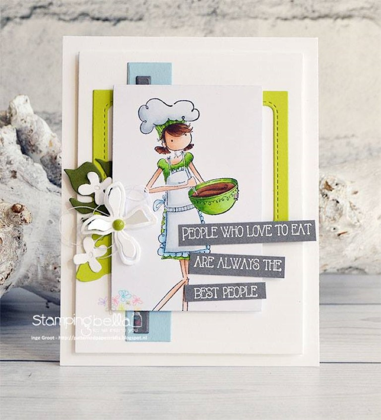 Bellarific Friday challenge with STAMPING BELLA- Rubber stamp used: UPTOWN GIRL CHANEL THE CHEF card made Inge GROOT