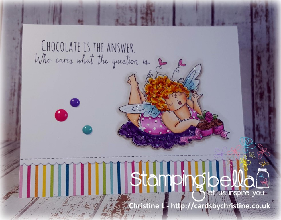 Bellarific Friday challenge SEPTEMBER 22 2017- RUBBER STAMP USED: EDNA LOVES CHOCOLATE, card by Christine Levison