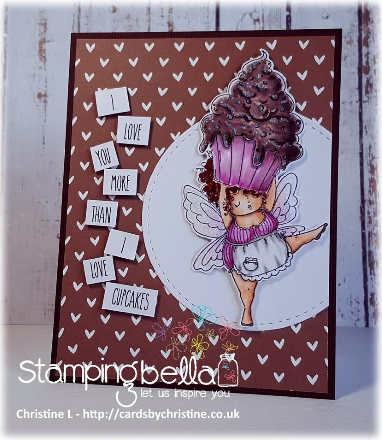 Bellarific Friday challenge with STAMPING BELLA- Rubber stamp used: Edna with a CUPCAKE on TOP card made by Christine Levison