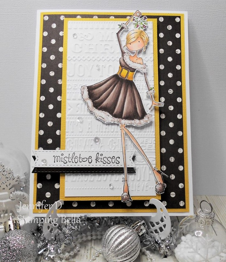 Bellarific Friday challenge with STAMPING BELLA- Rubber stamp used: Uptown girl EVE under the MISTLETOE card made by Jenny Dix