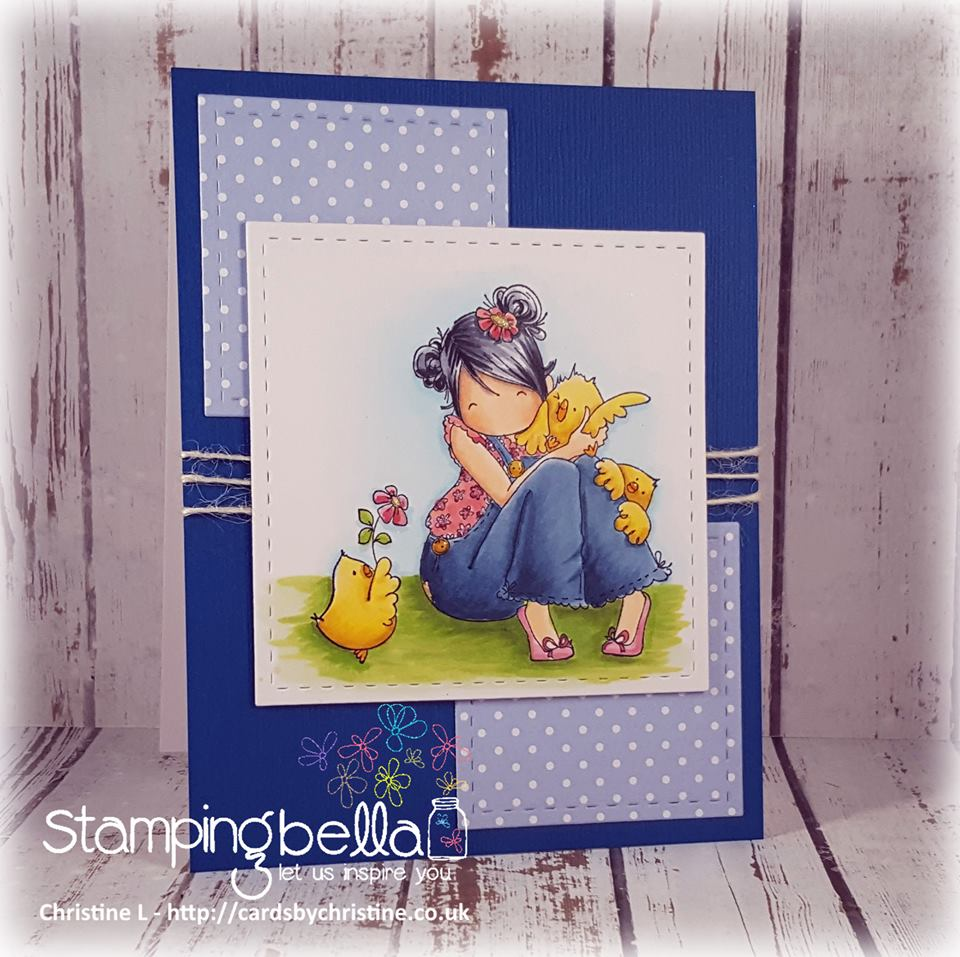 stampingbella BELLARIFIC FRIDAY SEPT 8th 2017 - RUBBER STAMP: TINY TOWNIE HEIDI NEEDS A HUG, card by Christine Levison
