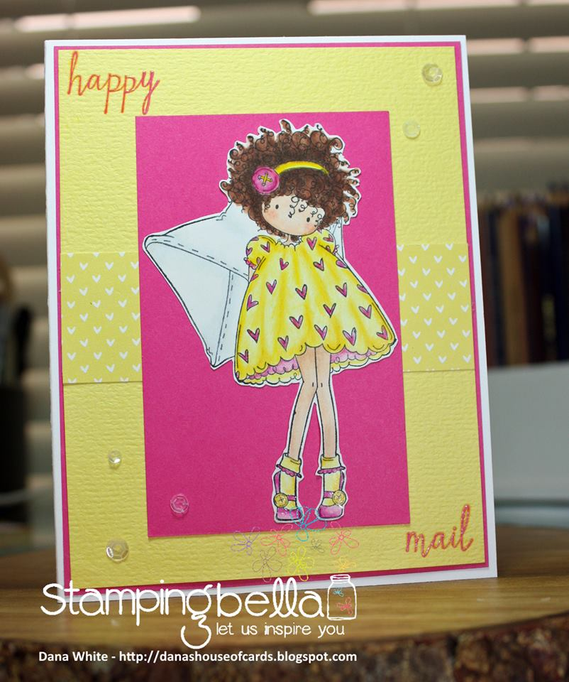 stampingbella BELLARIFIC FRIDAY SEPT 8th 2017 - RUBBER STAMP: TINY TOWNIE Lacey has a LETTER, card by Dana White