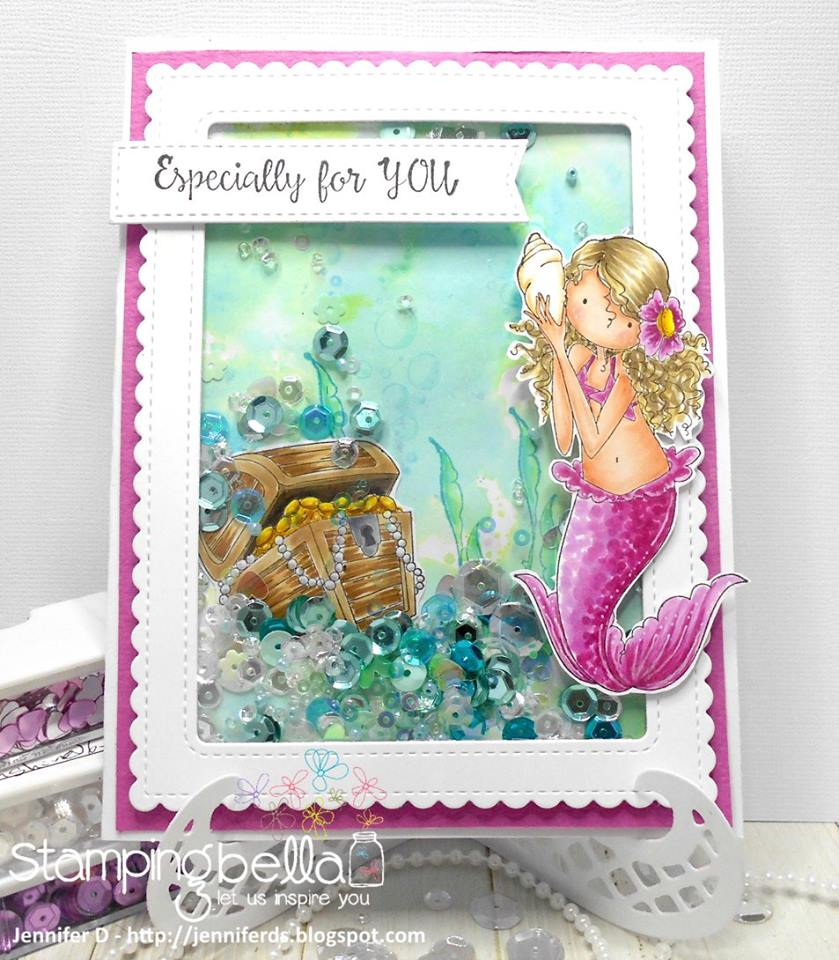 Bellarific Friday with STAMPING BELLA SEPT 15th 2017- RUBBER STAMP USED TINY TOWNIE MERMAID SET card by JENNY DIX