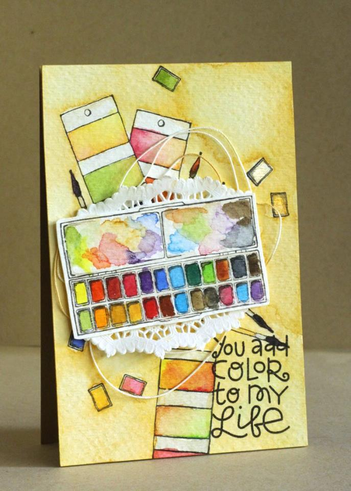 stampingbella BELLARIFIC FRIDAY SEPT 8th 2017 - RUBBER STAMP: RECTANGULAR PALETTE and PAINT CHIPS, card by ALICE WERTZ