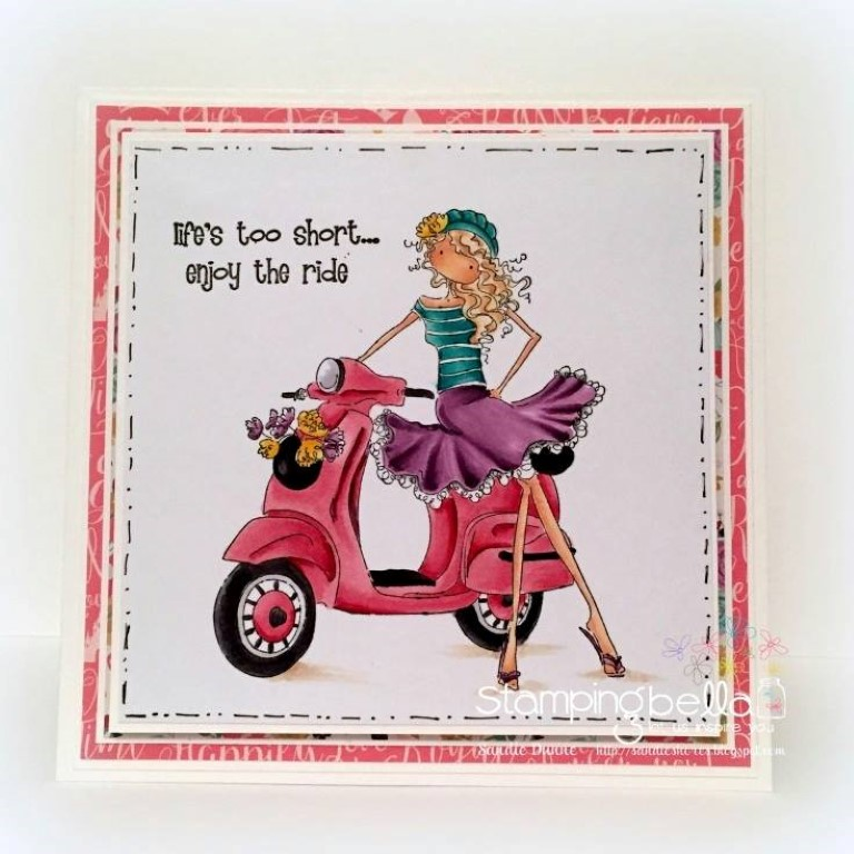 Bellarific Friday challenge SEPTEMBER 22 2017- RUBBER STAMP USED: VIENNA and her VESPA, card by Sandie Dunne