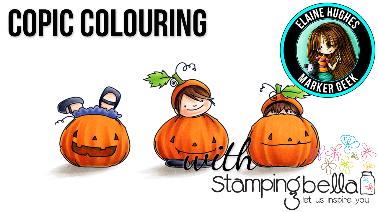 Stamping Bella Marker Geek Monday Squidgy Pumpkin Trio Video & Colouring Pumpkins