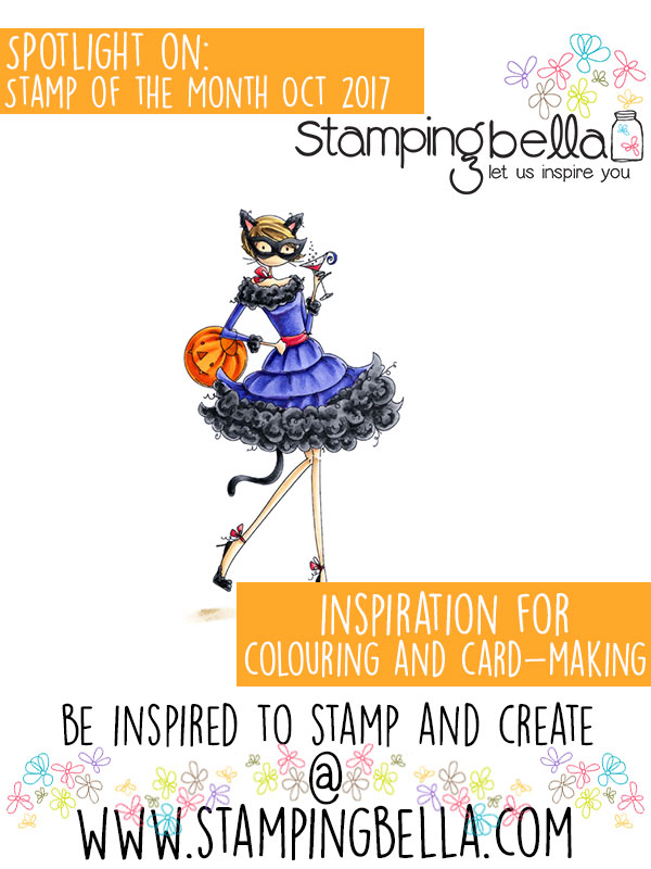Stamping Bella Spotlight On October 2017 Stamp of the Month Uptown Girl Kitty Loves Halloween.