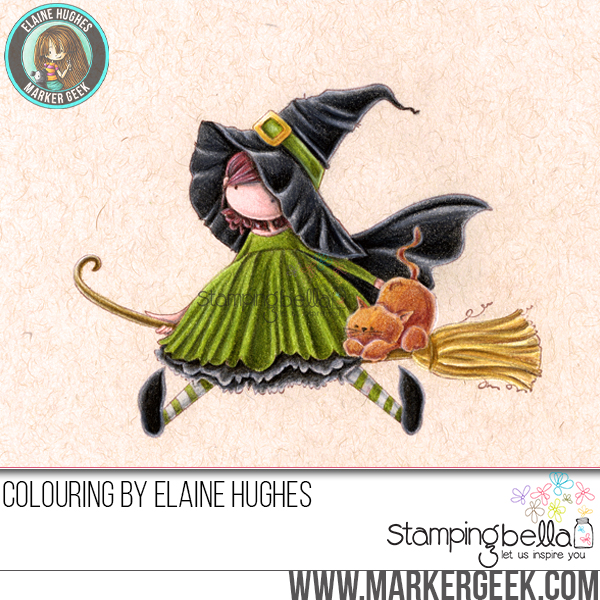 Stamping Bella - Marker Geek Monday - Halloween Fun with Coloured Pencils