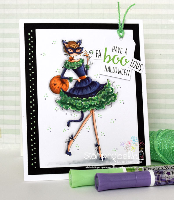 Stamping Bella RUBBER STAMPS: Stamp USED: UPTOWN GIRL KITTY LOVES HALLOWEEN, card by Michele Boyer