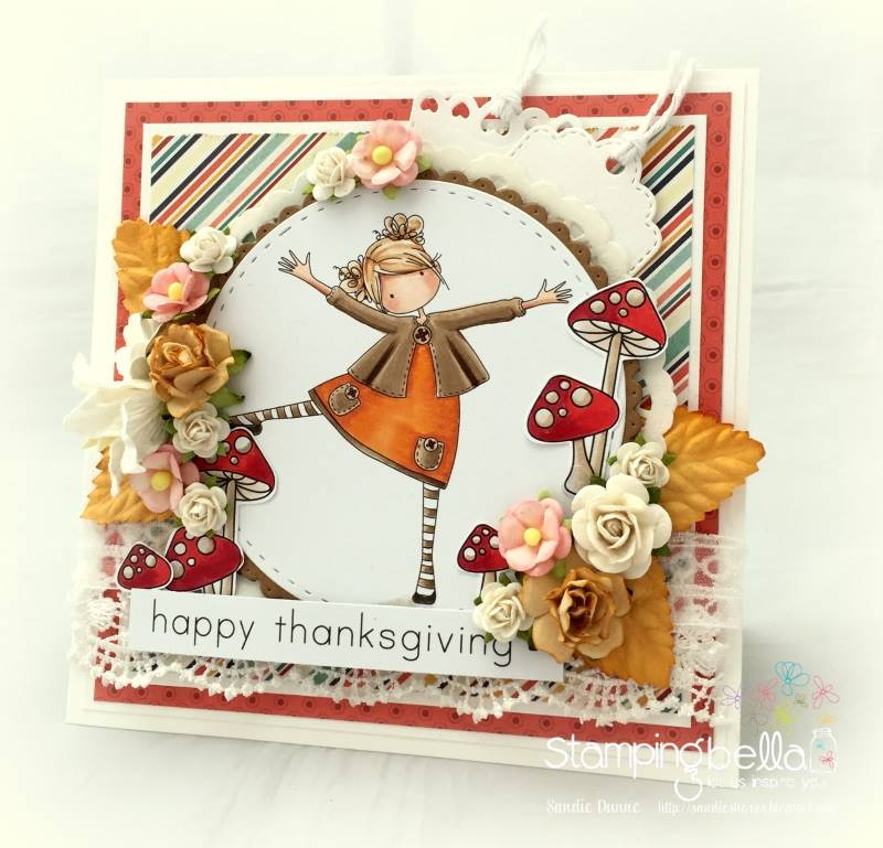stamping bella rubber stamps: tiny townie Layla loves Leaves, Little Bits Fall Fruit SET card by Sandie Dunne