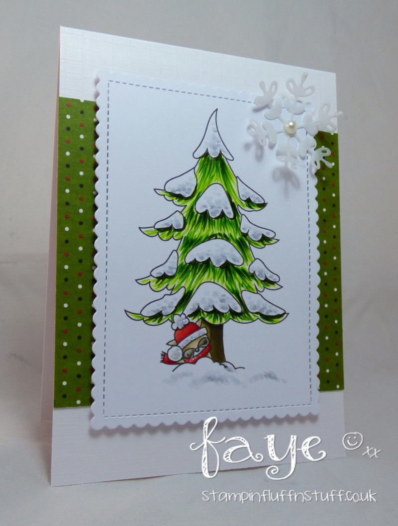Stamping bella rubber stamps used:THE LITTLES MISTER RACCOON and the WINTER TREE Card by FAYE WYNN JONES